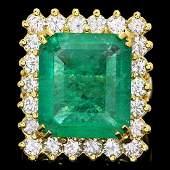 18k Gold 9.00ct Emerald 2.40ct Diamond Ring