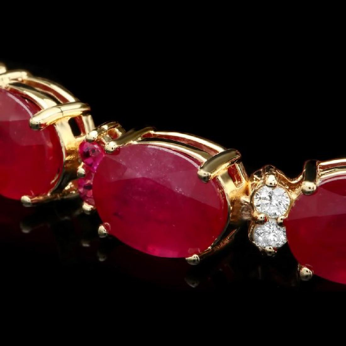 14k Gold 39.7ct Ruby 0.70ct Diamond Bracelet - 2