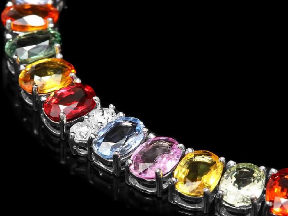 14k Gold 67.00ct Sapphire 4.00ct Diamond Necklace - 2