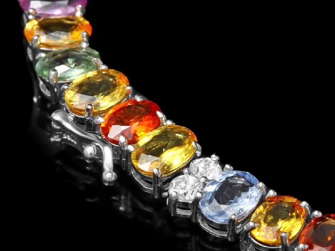 14k Gold 67.00ct Sapphire 4.00ct Diamond Necklace - 3