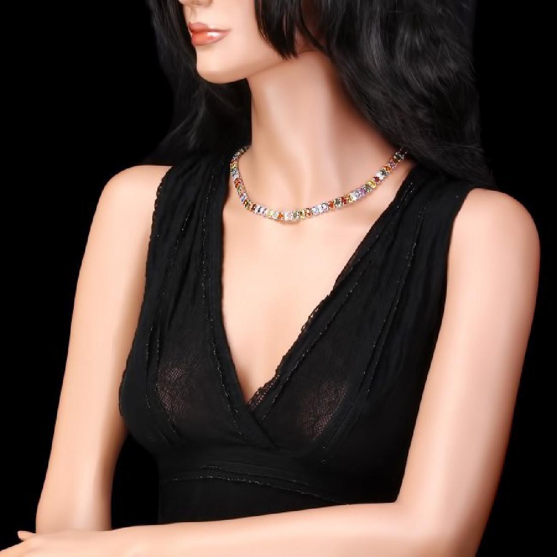 14k Gold 67.00ct Sapphire 4.00ct Diamond Necklace - 5