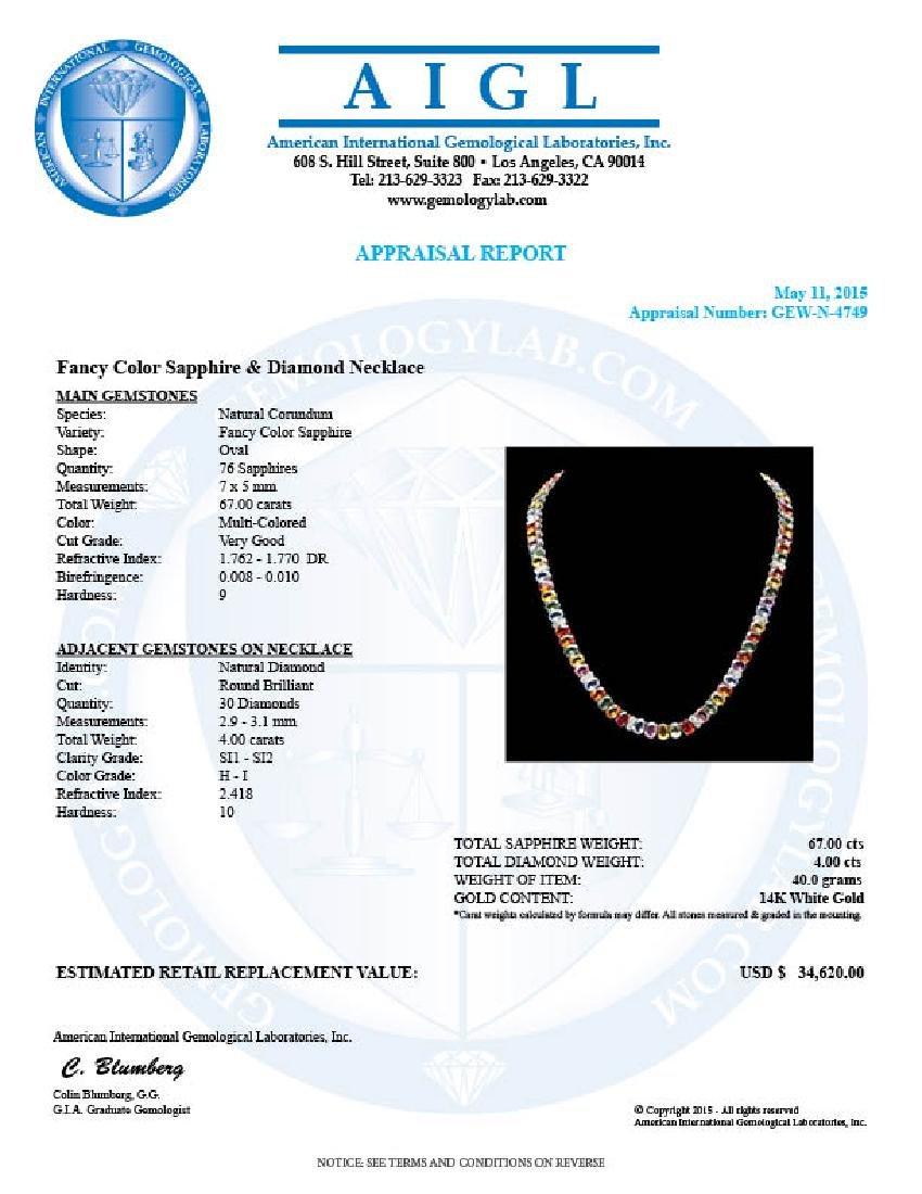 14k Gold 67.00ct Sapphire 4.00ct Diamond Necklace - 6