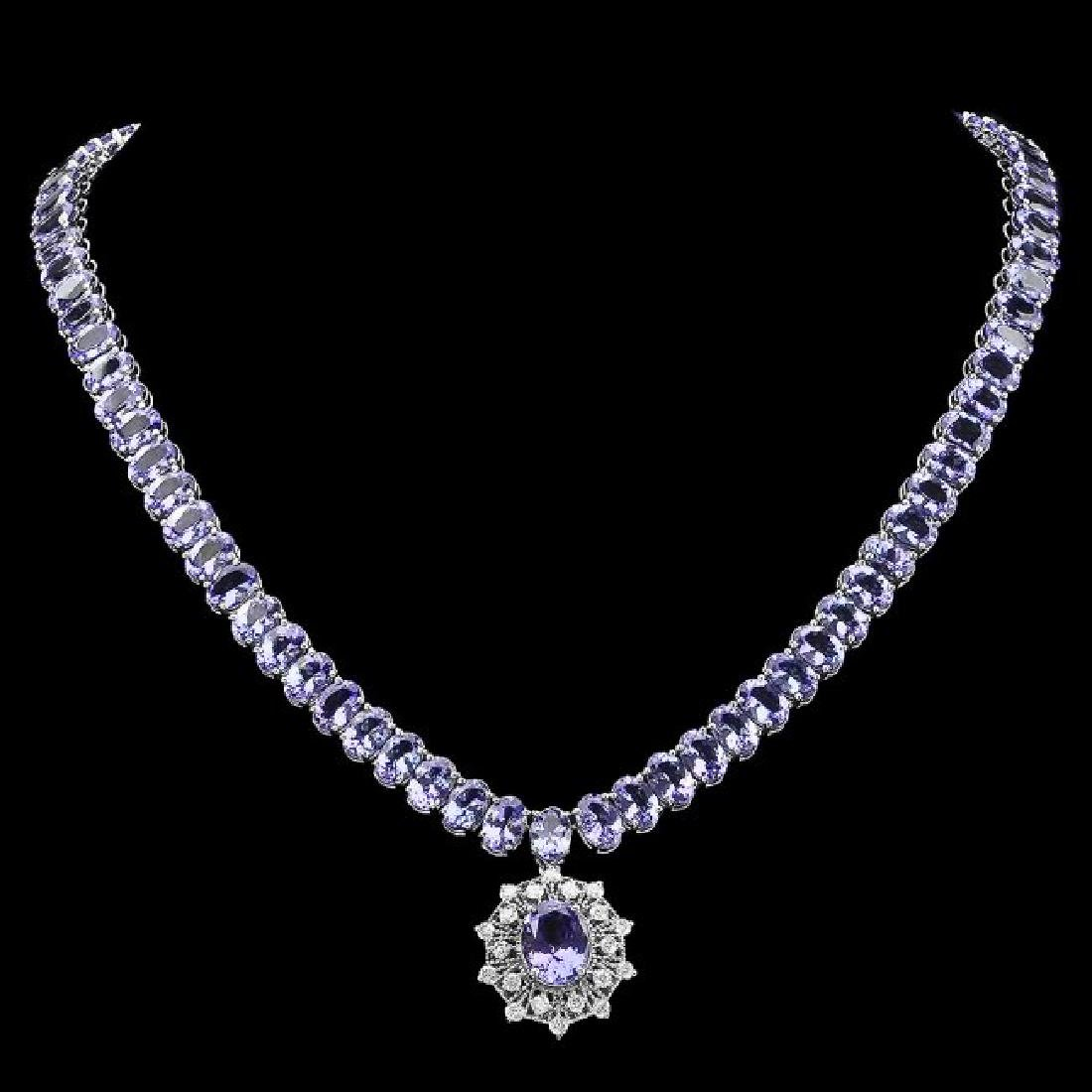 14k Gold 65.5ct Tanzanite 1.00ct Diamond Necklace