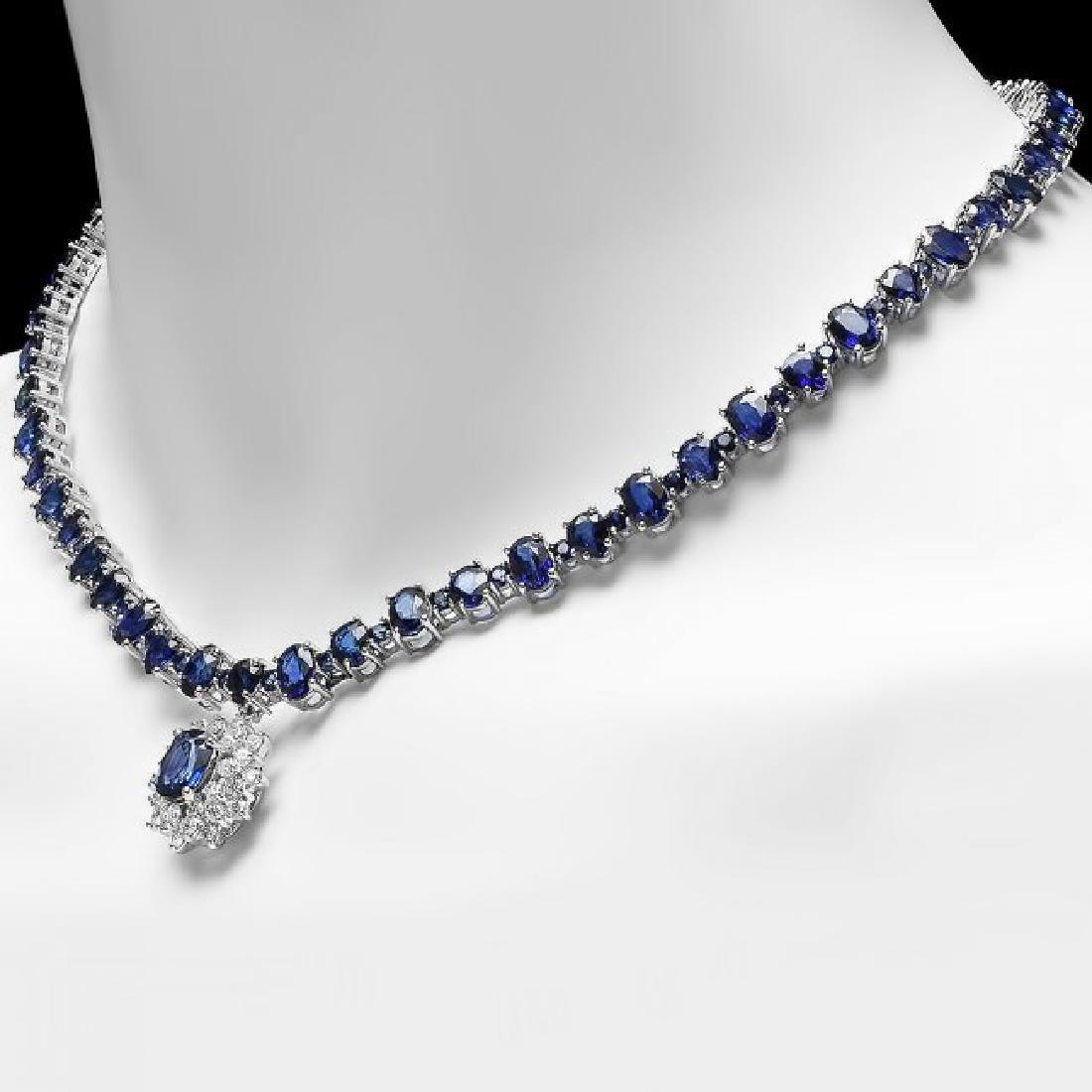 14k Gold 49.5ct Sapphire 1.70ct Diamond Necklace - 4