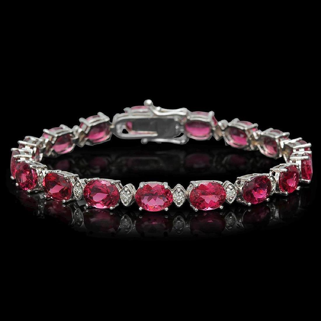 14K Gold 22.52ct Tourmaline 1.02ct Diamond Bracelet