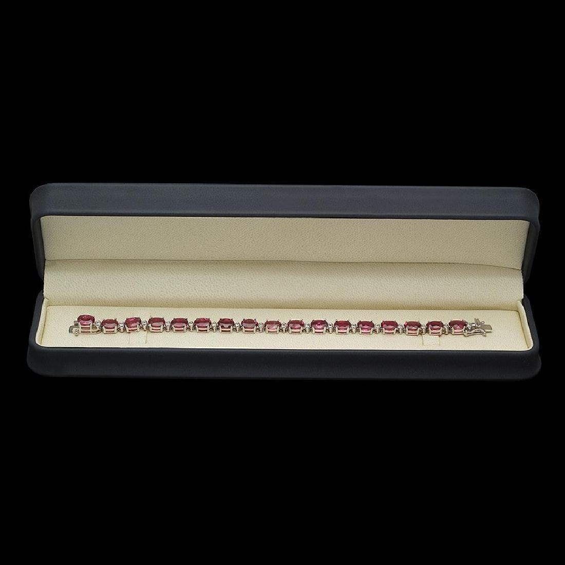 14K Gold 22.52ct Tourmaline 1.02ct Diamond Bracelet - 3