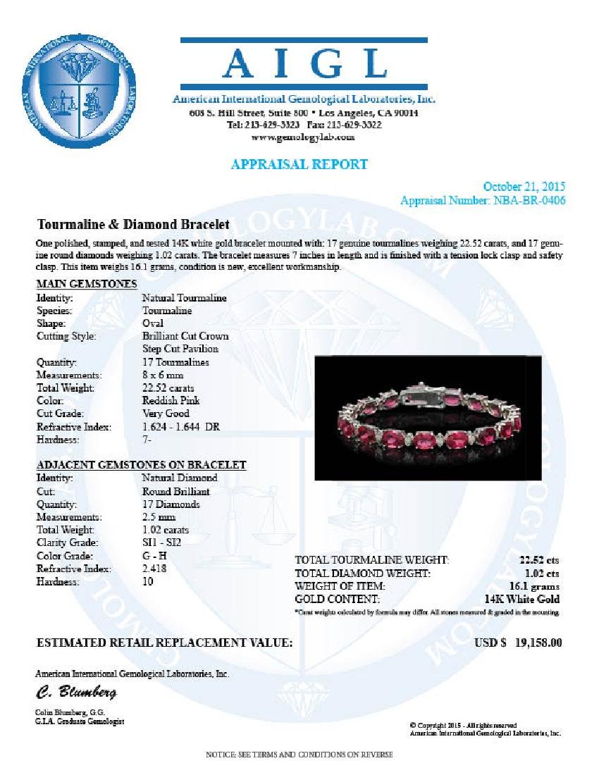 14K Gold 22.52ct Tourmaline 1.02ct Diamond Bracelet - 4