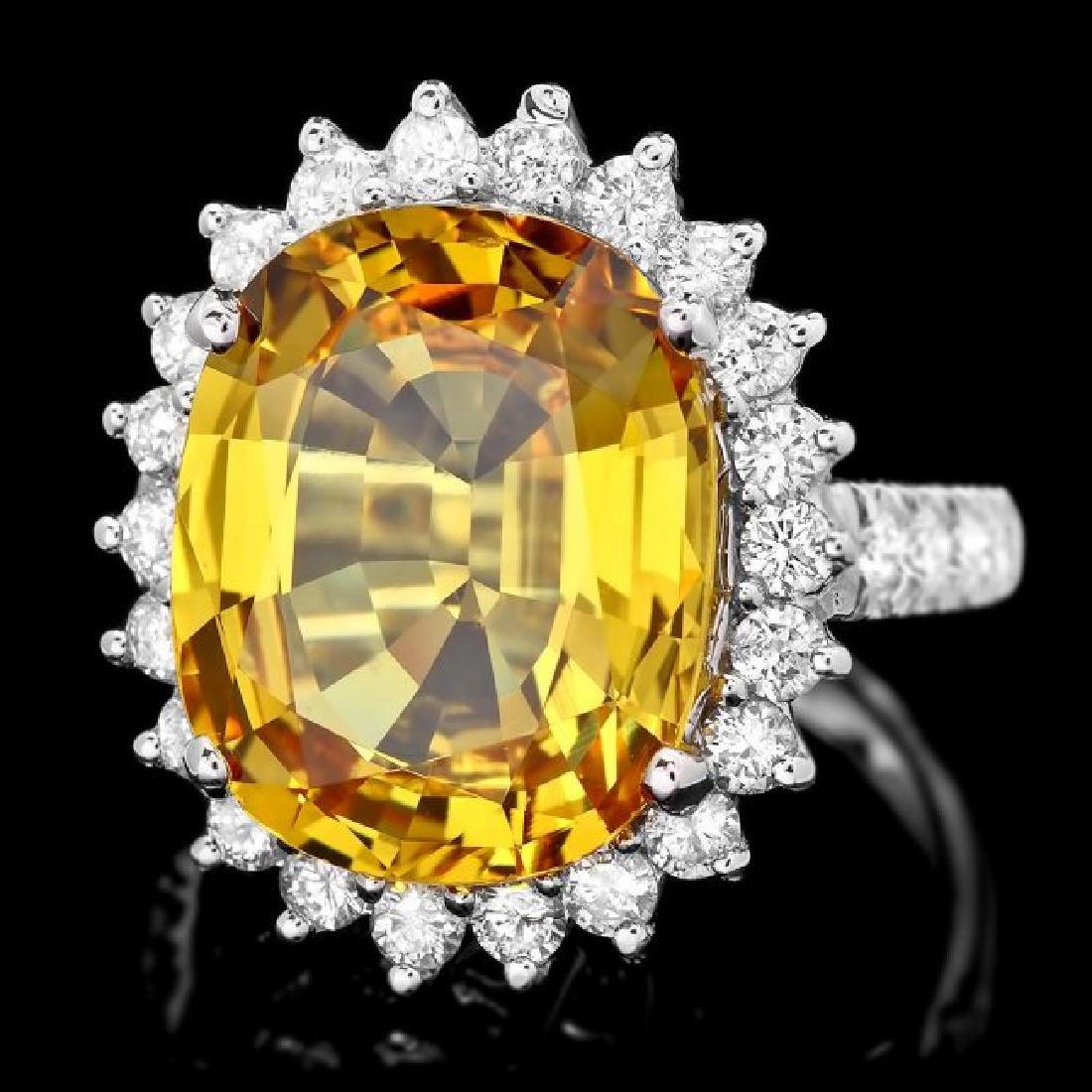 14k Gold 12.20ct Sapphire 1.40ct Diamond Ring