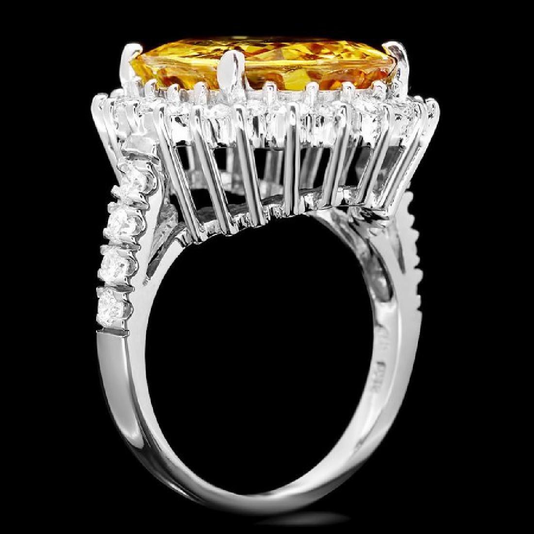 14k Gold 12.20ct Sapphire 1.40ct Diamond Ring - 2
