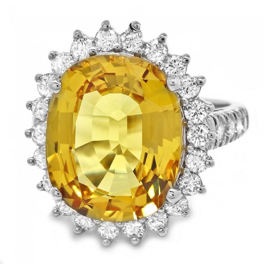 14k Gold 12.20ct Sapphire 1.40ct Diamond Ring - 3