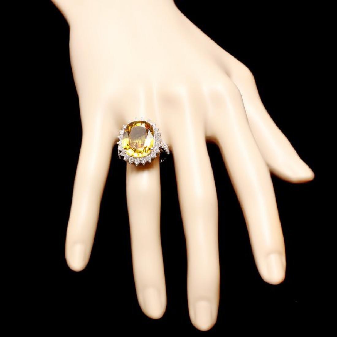 14k Gold 12.20ct Sapphire 1.40ct Diamond Ring - 4