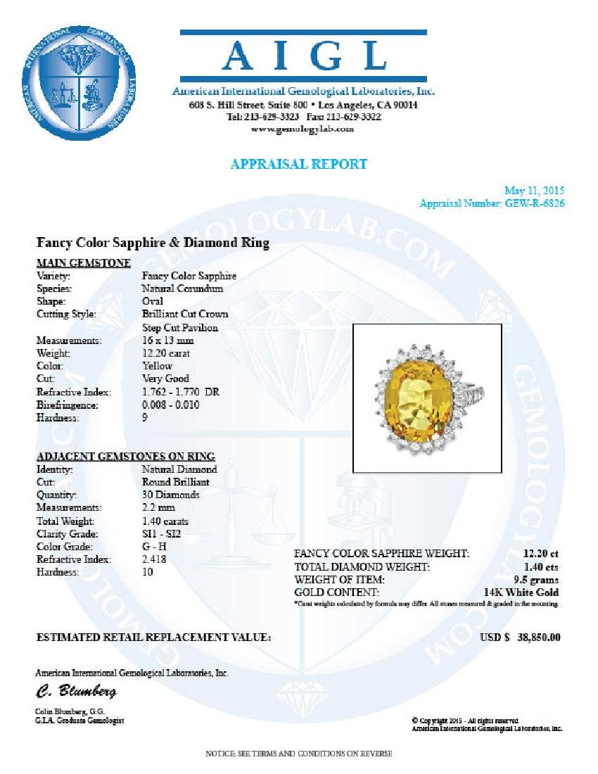 14k Gold 12.20ct Sapphire 1.40ct Diamond Ring - 5