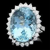 14k Gold 1350ct Aquamarine 1ct Diamond Ring