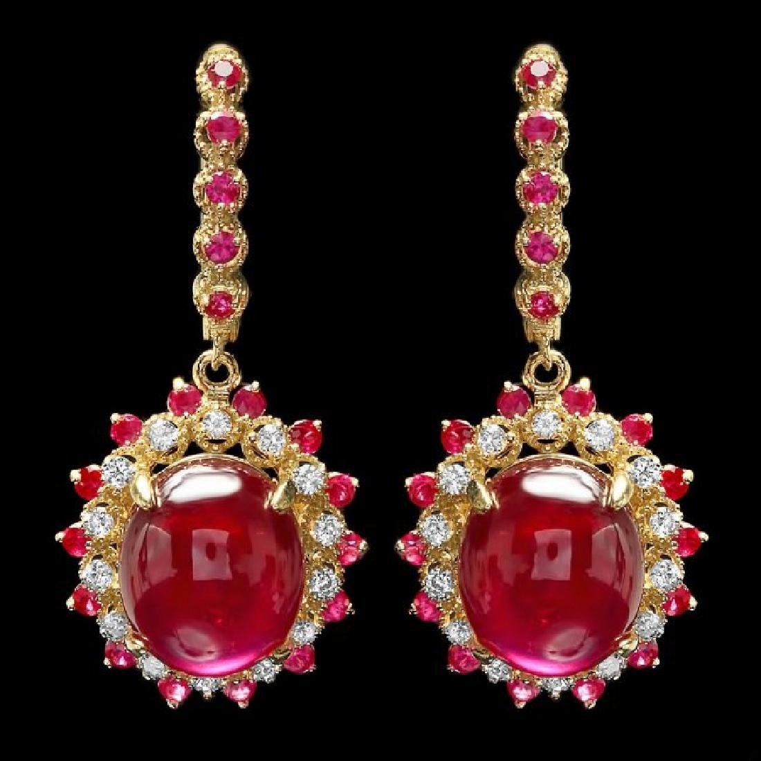 14k Gold 24.5ct Ruby 0.70ct Diamond Earrings
