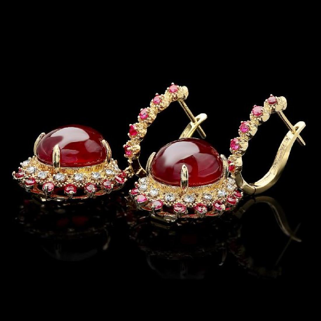 14k Gold 24.5ct Ruby 0.70ct Diamond Earrings - 2