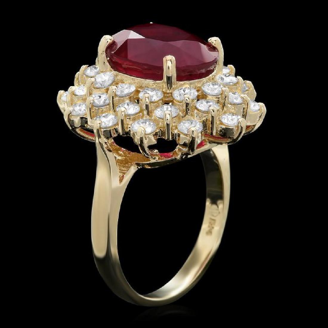 14k Yellow Gold 7.50ct Ruby 2.30ct Diamond Ring - 2