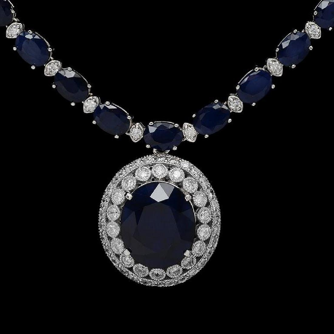14K Gold 50.77 ct Sapphire & 3.27 ct Diamond Necklace - 2