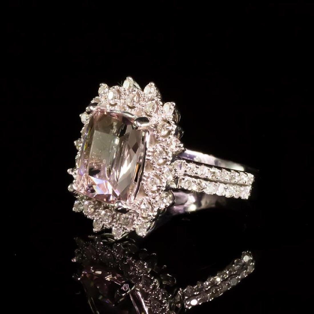 14K Gold 3.79ct Morganite 0.92ct Diamond Ring - 2