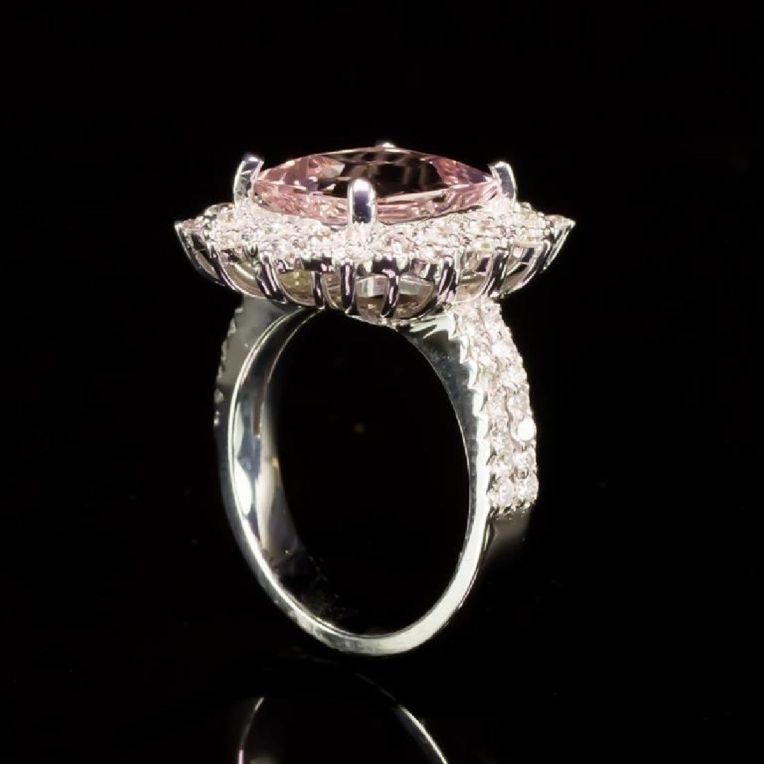 14K Gold 3.79ct Morganite 0.92ct Diamond Ring - 3