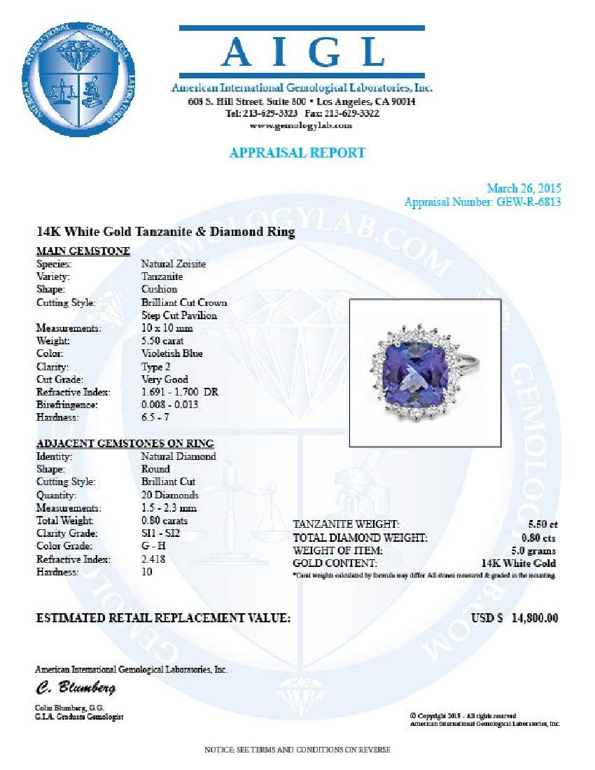 14k Gold 5.50ct Tanzanite 0.80ct Diamond Ring - 5