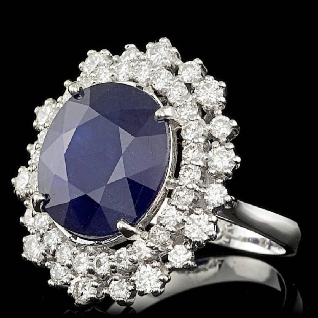 14k Gold 8.50ct Sapphire 1.50ct Diamond Ring - 2