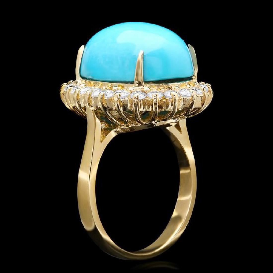 14k Yellow Gold 10ct Turquoise 1ct Diamond Ring - 2