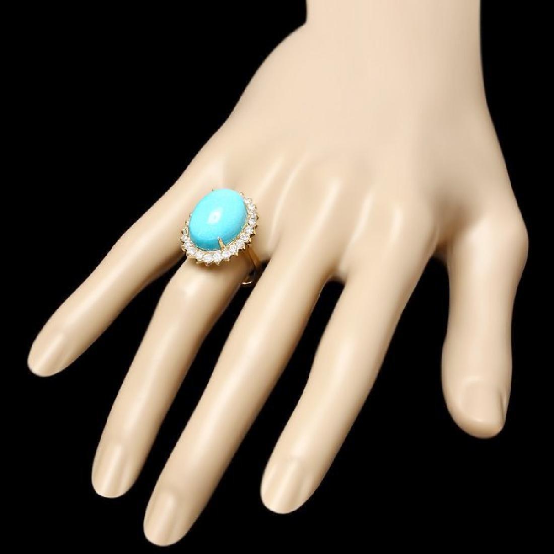 14k Yellow Gold 10ct Turquoise 1ct Diamond Ring - 3