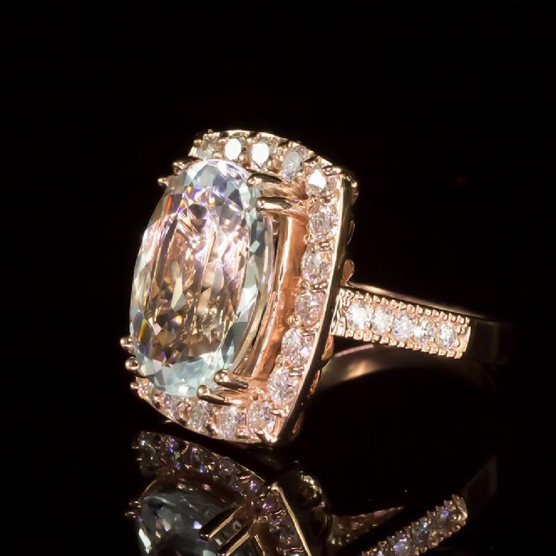 14K Gold 6.50ct Aquamarine 1.41ct Diamond Ring - 2
