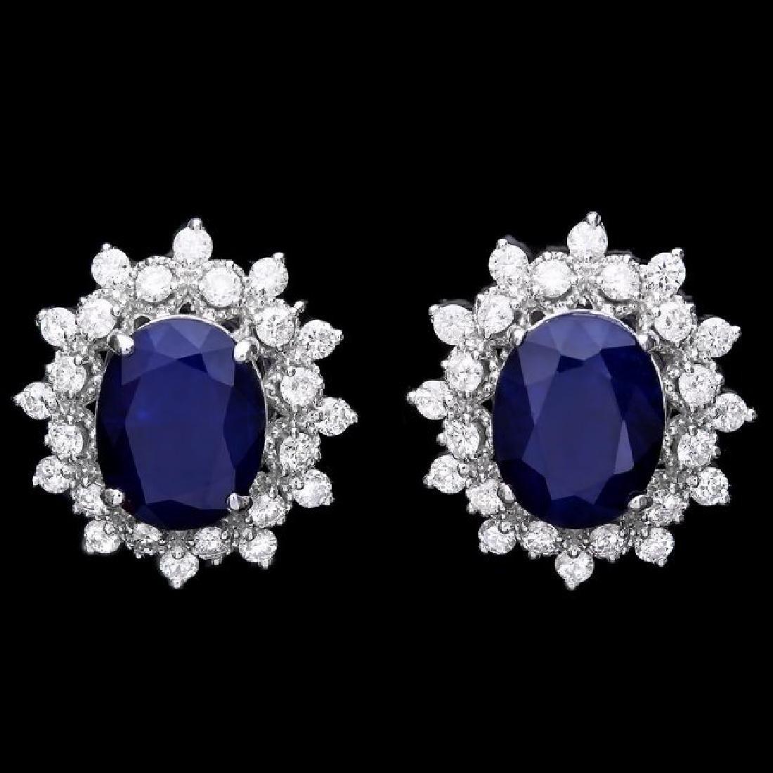 14k Gold 7ct Sapphire 1.25ct Diamond Earrings