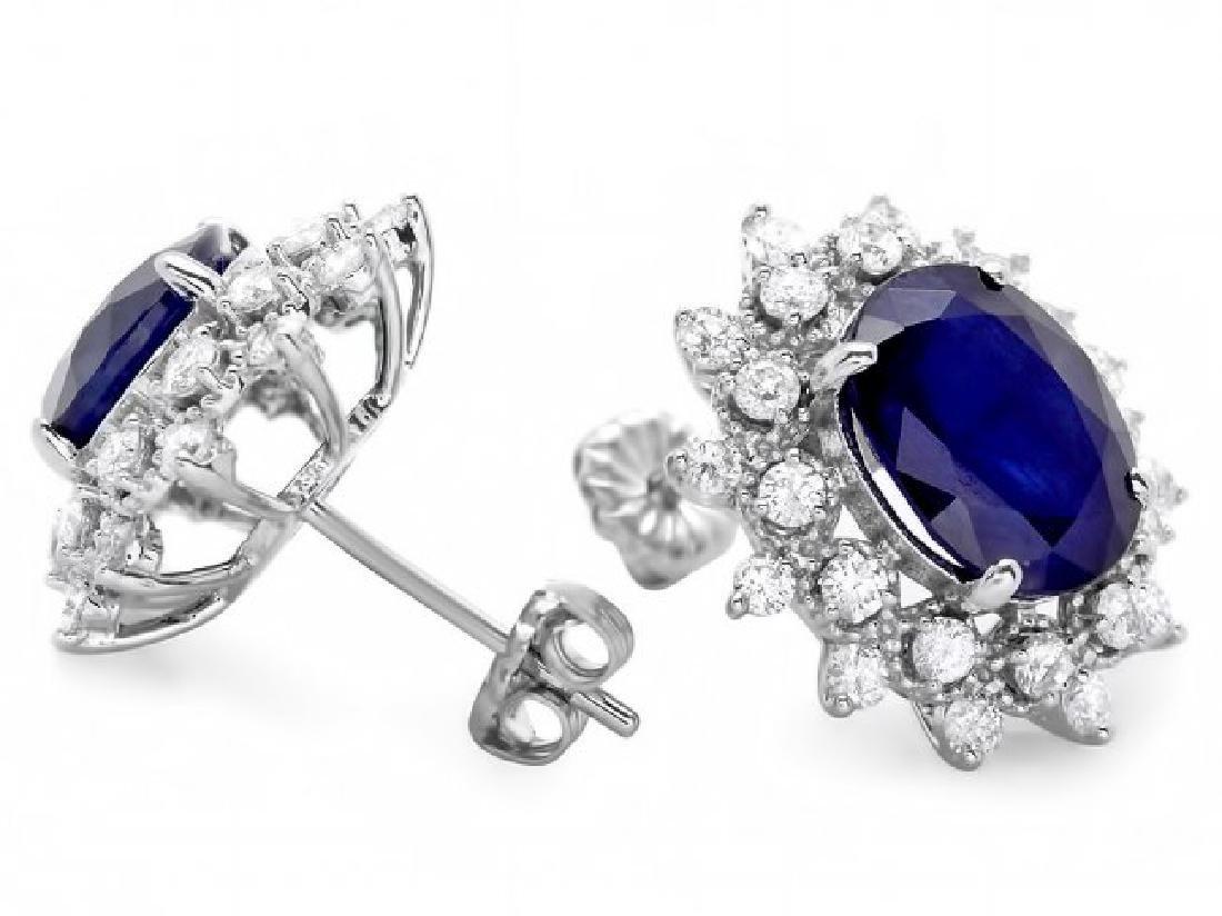14k Gold 7ct Sapphire 1.25ct Diamond Earrings - 2