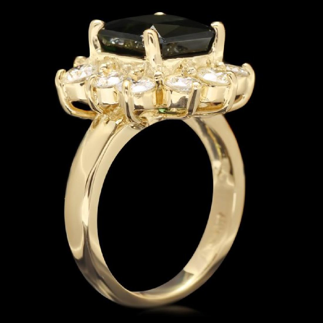 14k Gold 4ct Tourmaline 1.80ct Diamond Ring - 3