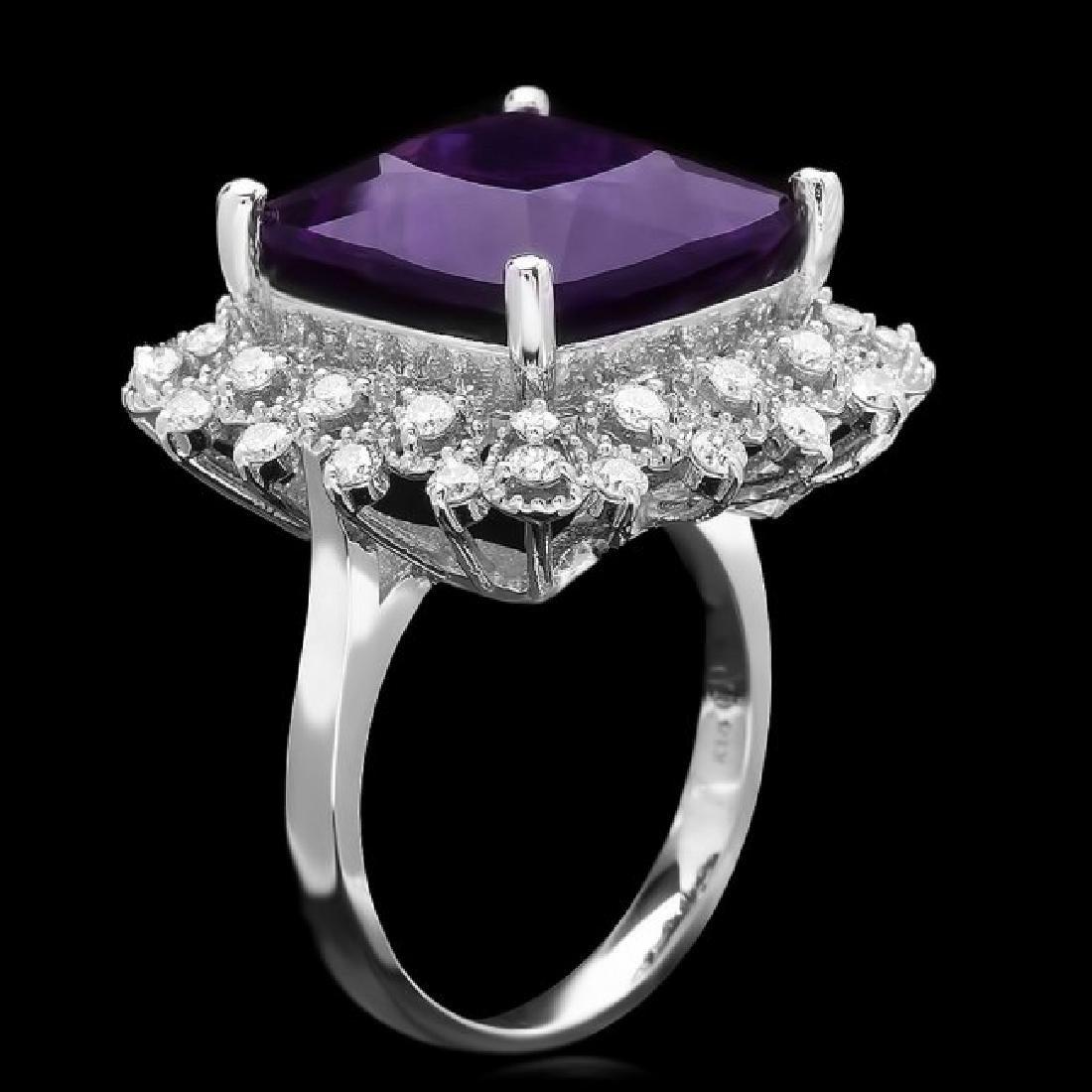14k Gold 9.70ct Amethyst 0.80ct Diamond Ring - 2