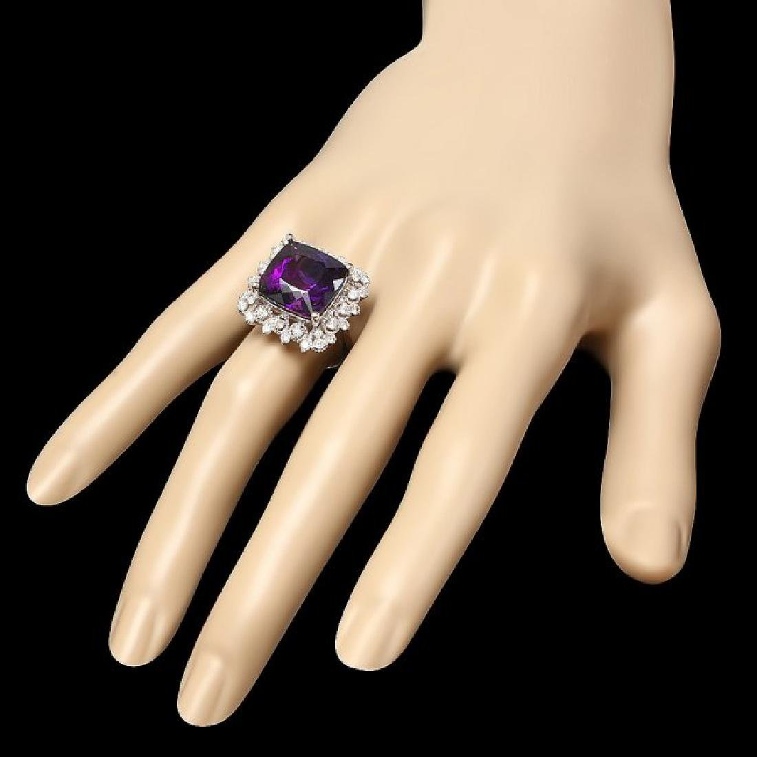 14k Gold 9.70ct Amethyst 0.80ct Diamond Ring - 3