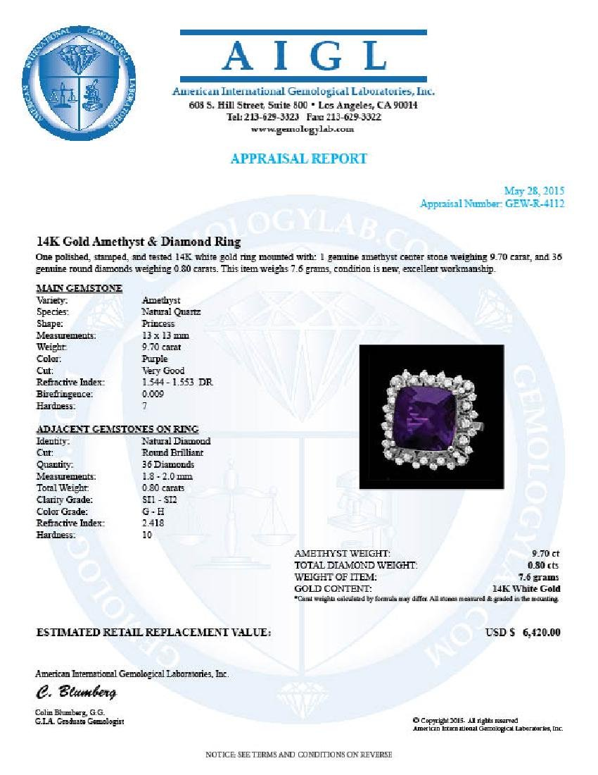 14k Gold 9.70ct Amethyst 0.80ct Diamond Ring - 4
