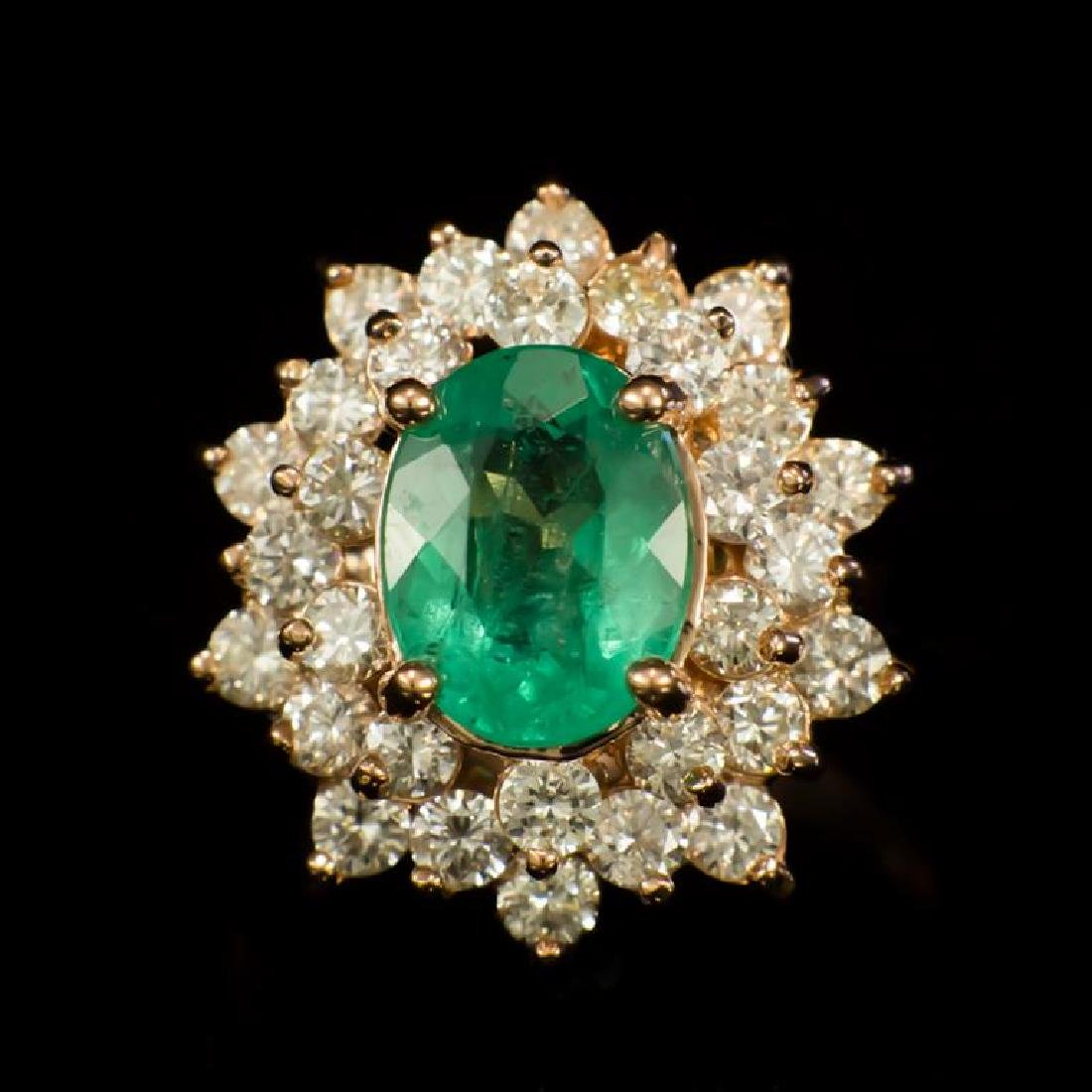14K Gold 2.10ct Emerald 1.67ct Diamond Ring