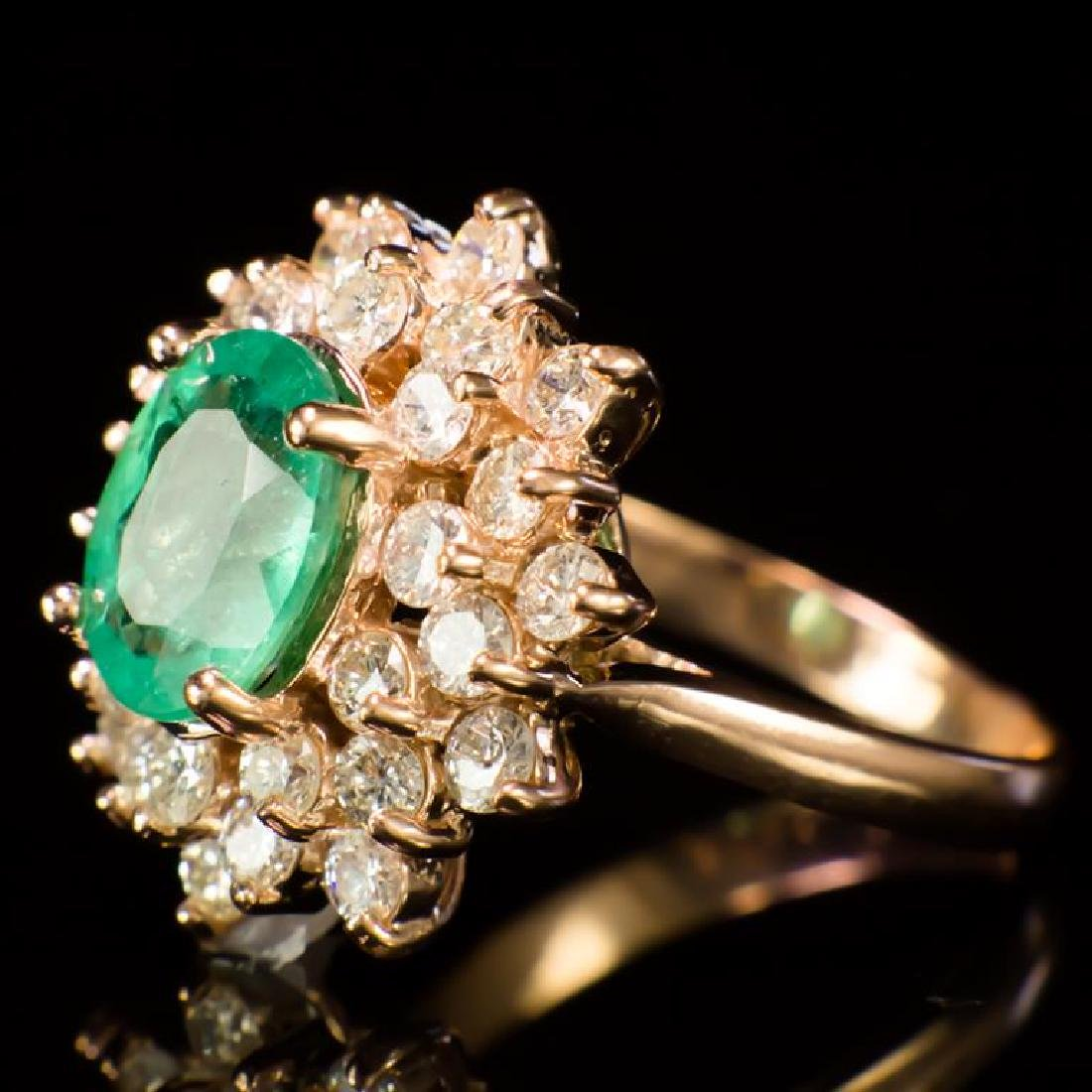 14K Gold 2.10ct Emerald 1.67ct Diamond Ring - 2