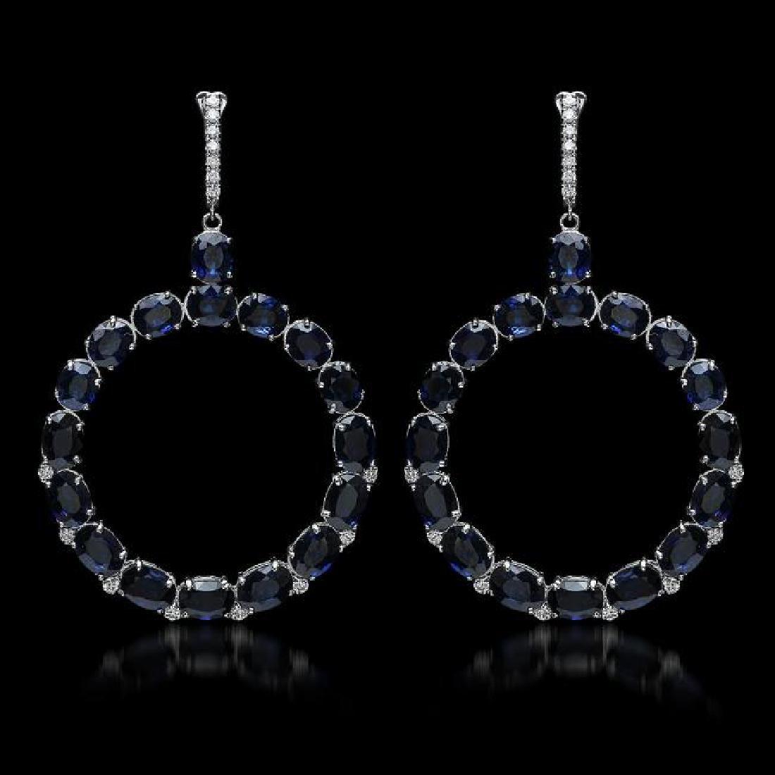 14K Gold 30.46ct Sapphire 0.52ct Diamond Earrings