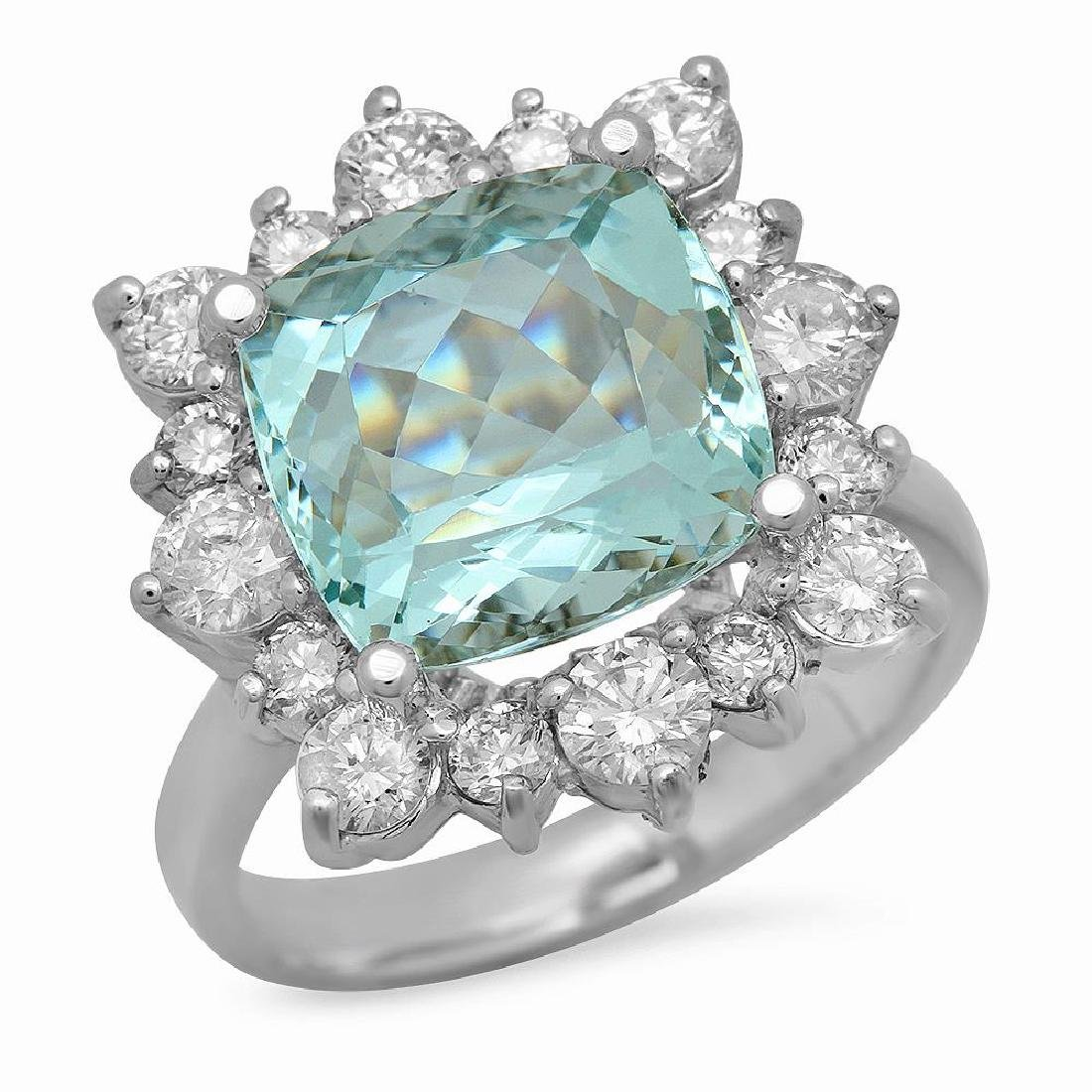 14K Gold 5.79ct Aquamarine 1.44ct Diamond Ring