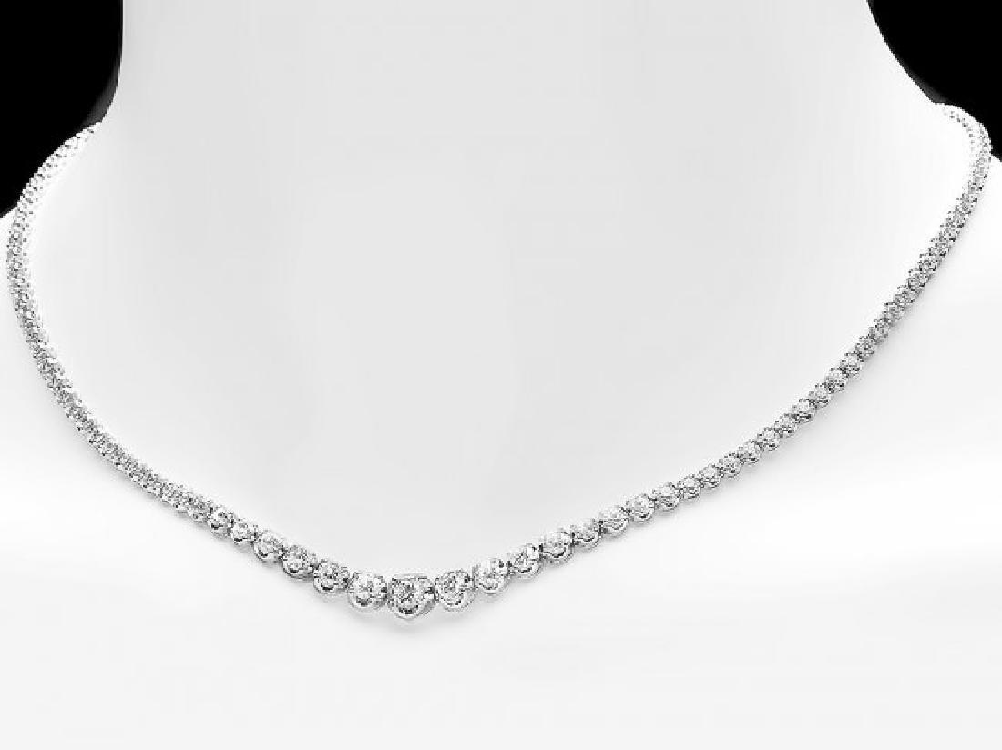 18k White Gold 6.50ct Diamond Necklace - 4
