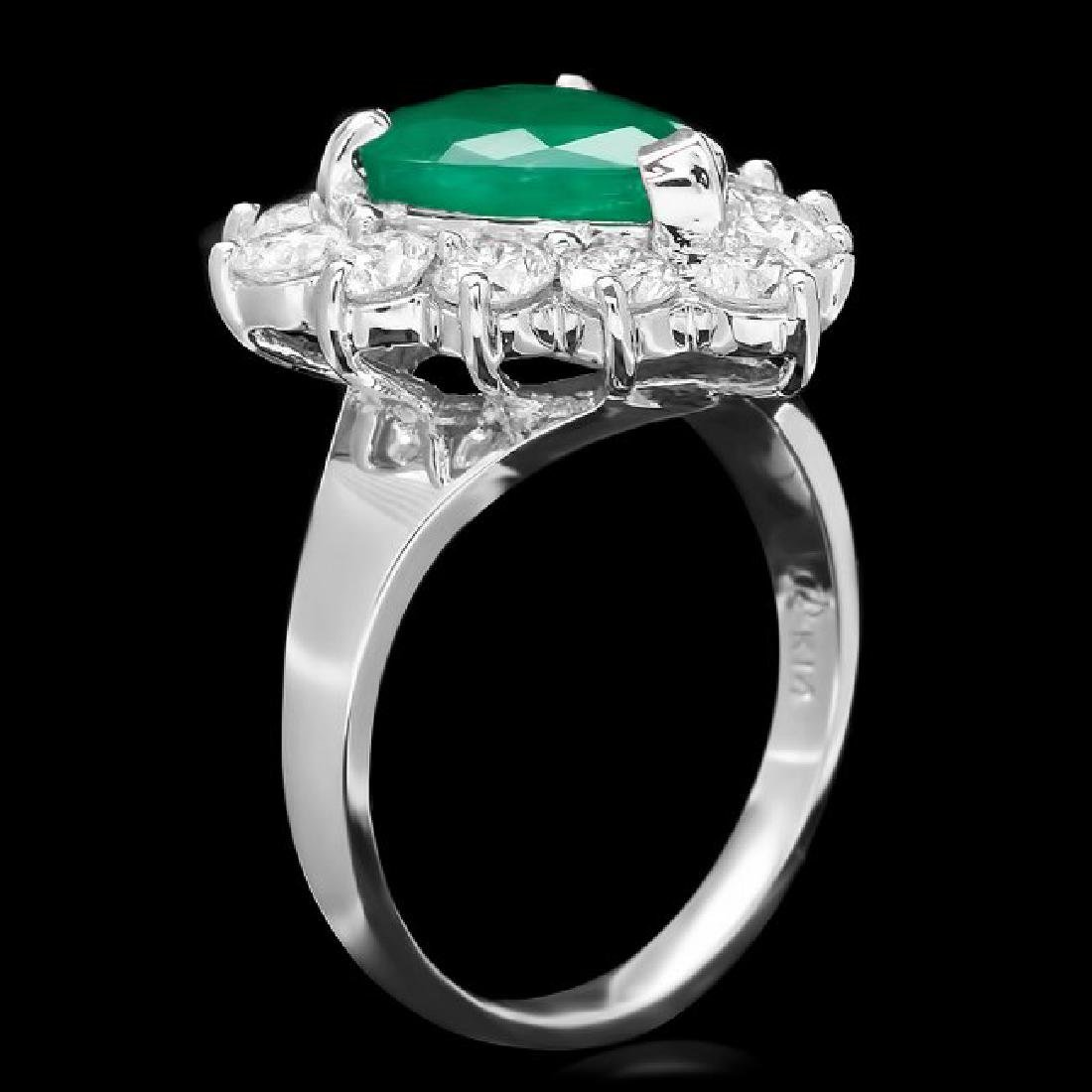 14k White Gold 2.70ct Emerald 1.50ct Diamond Ring - 2