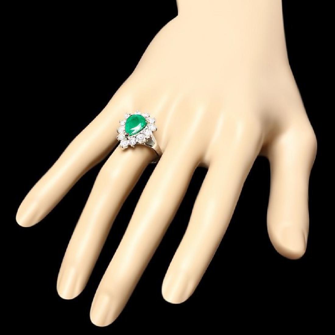 14k White Gold 2.70ct Emerald 1.50ct Diamond Ring - 3