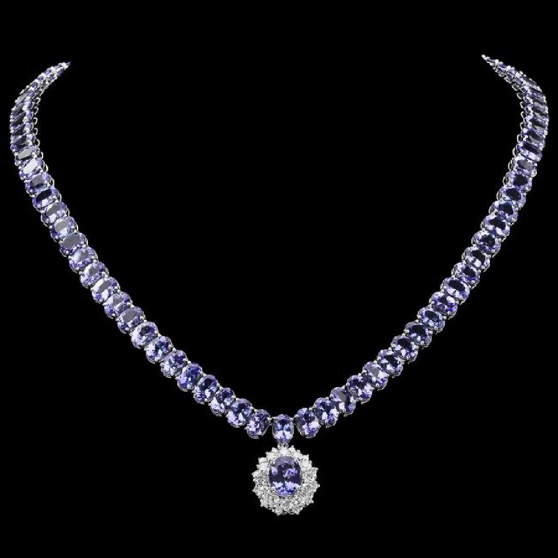 14k Gold 64.5ct Tanzanite 1.60ct Diamond Necklace - 2