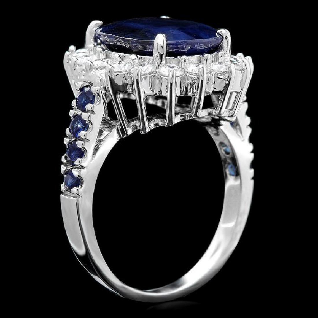 14k White Gold 7.5ct Sapphire 1.00ct Diamond Ring - 3