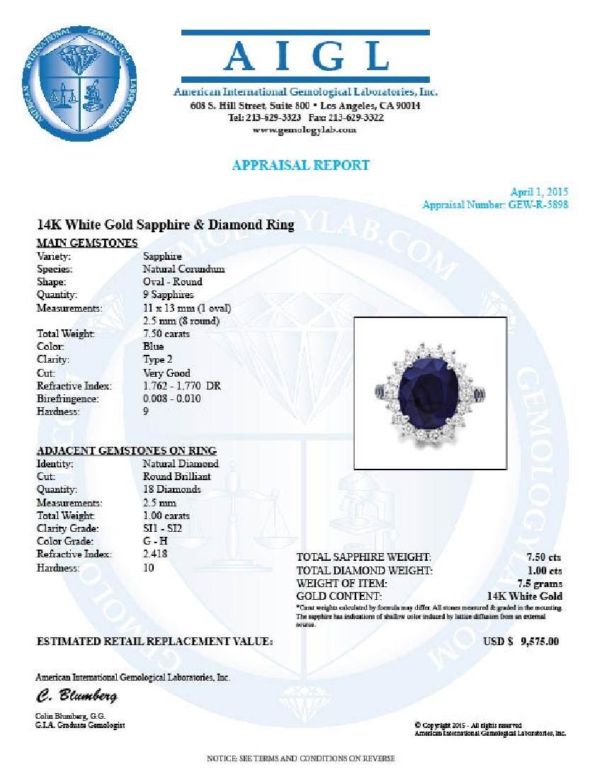 14k White Gold 7.5ct Sapphire 1.00ct Diamond Ring - 5