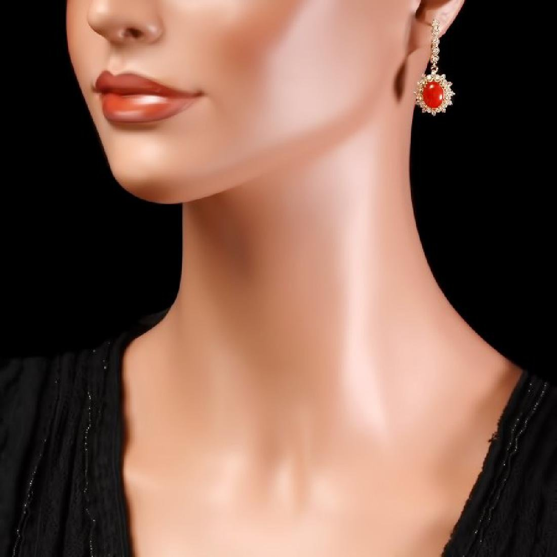 14k Gold 4.00ct Coral 1.50ct Diamond Earrings - 4