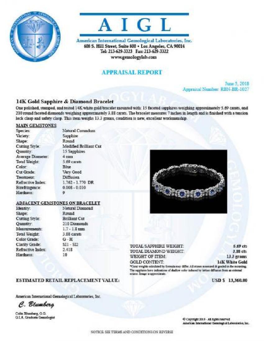 14K Gold 5.69ct Sapphire 3.88ct Diamond Bracelet - 4
