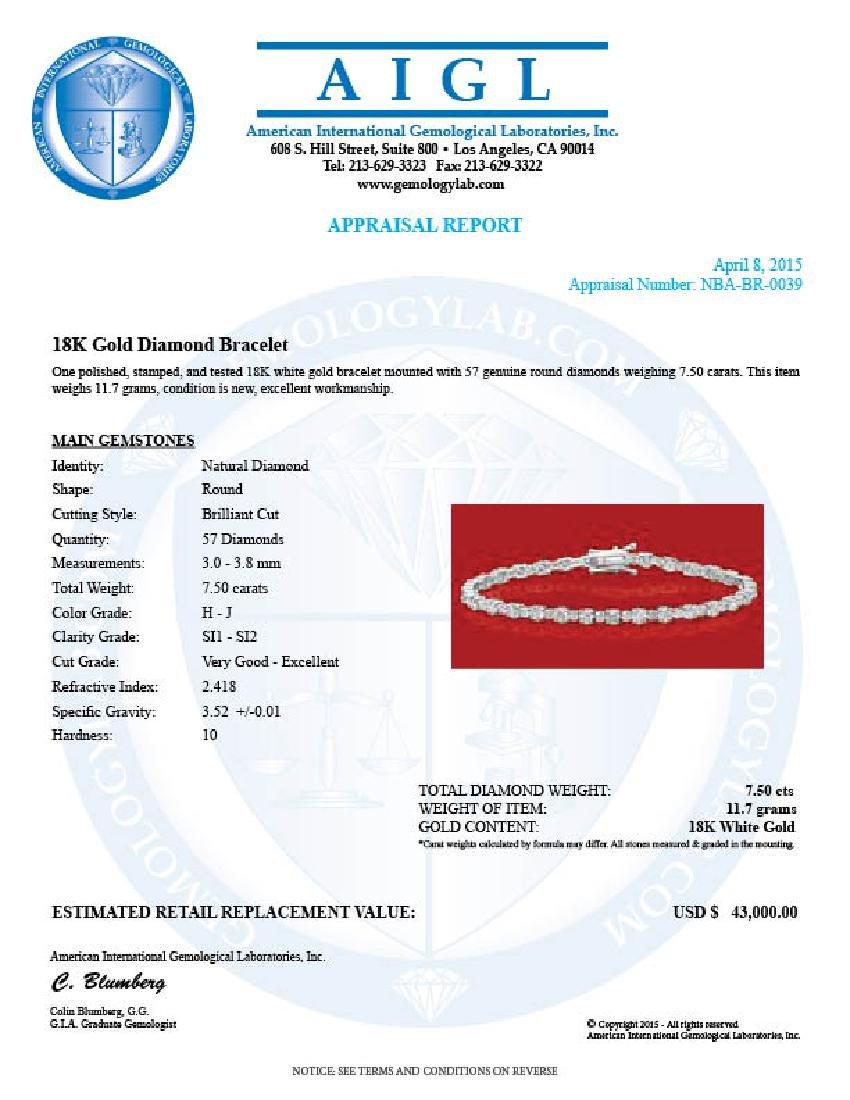18k Gold 7.50ct Diamond Bracelet - 3