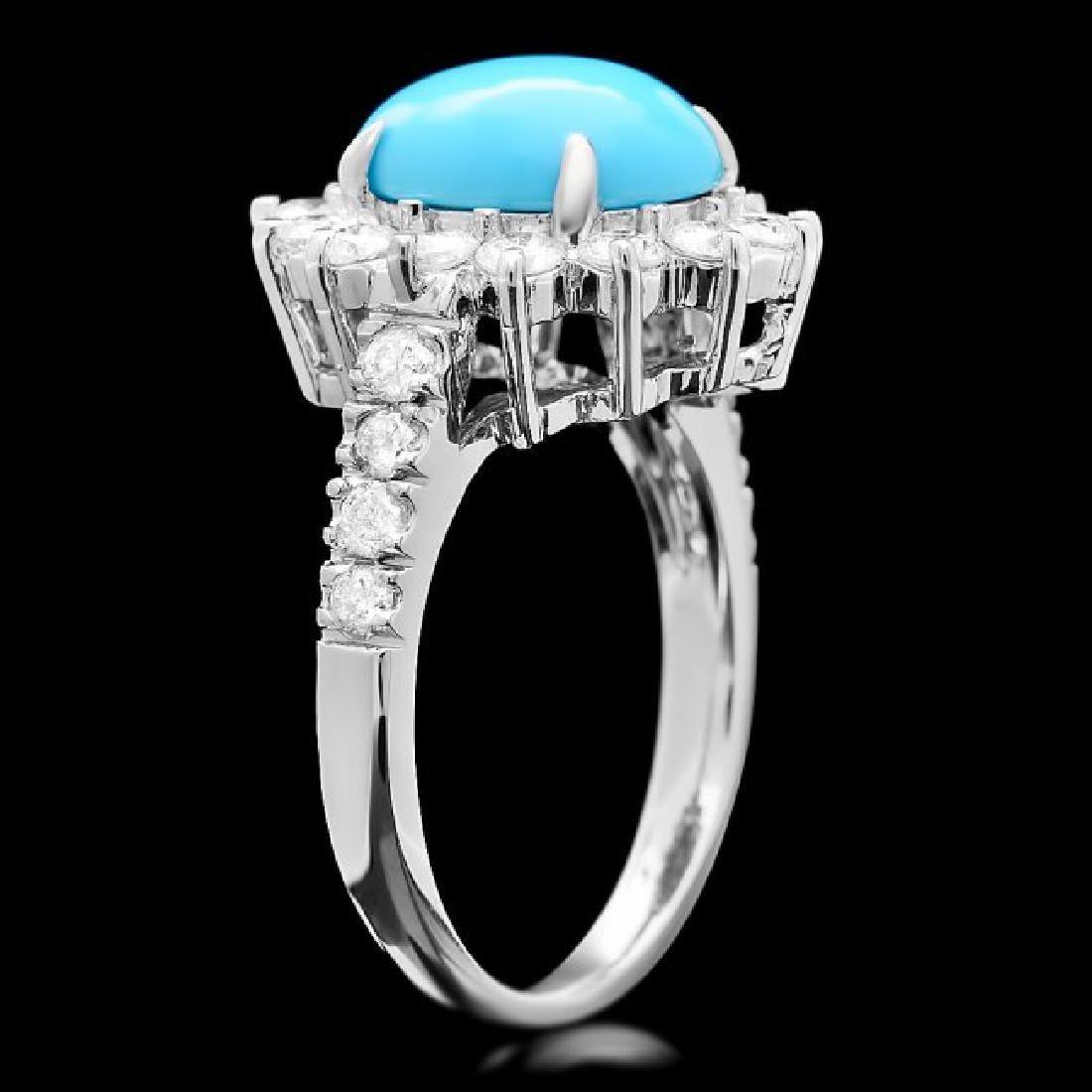 14k Gold 2.50ct Turquoise 1.20ct Diamond Ring - 3