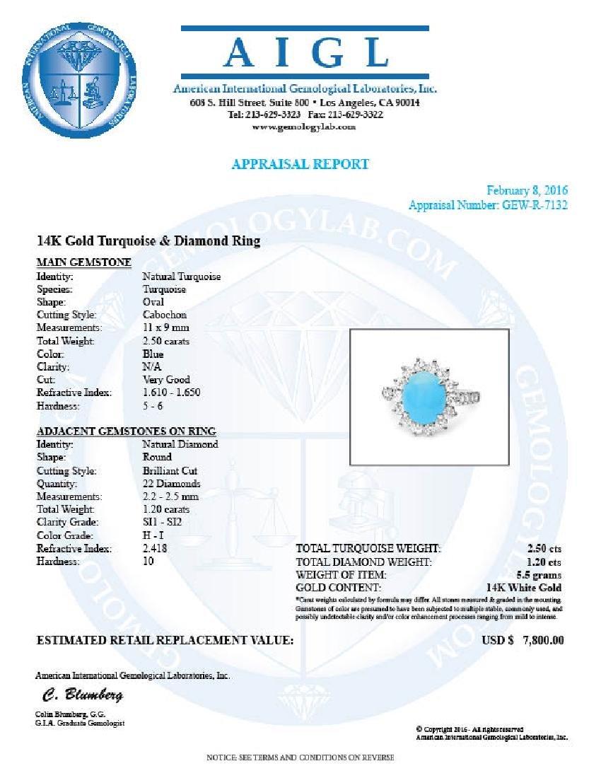 14k Gold 2.50ct Turquoise 1.20ct Diamond Ring - 5