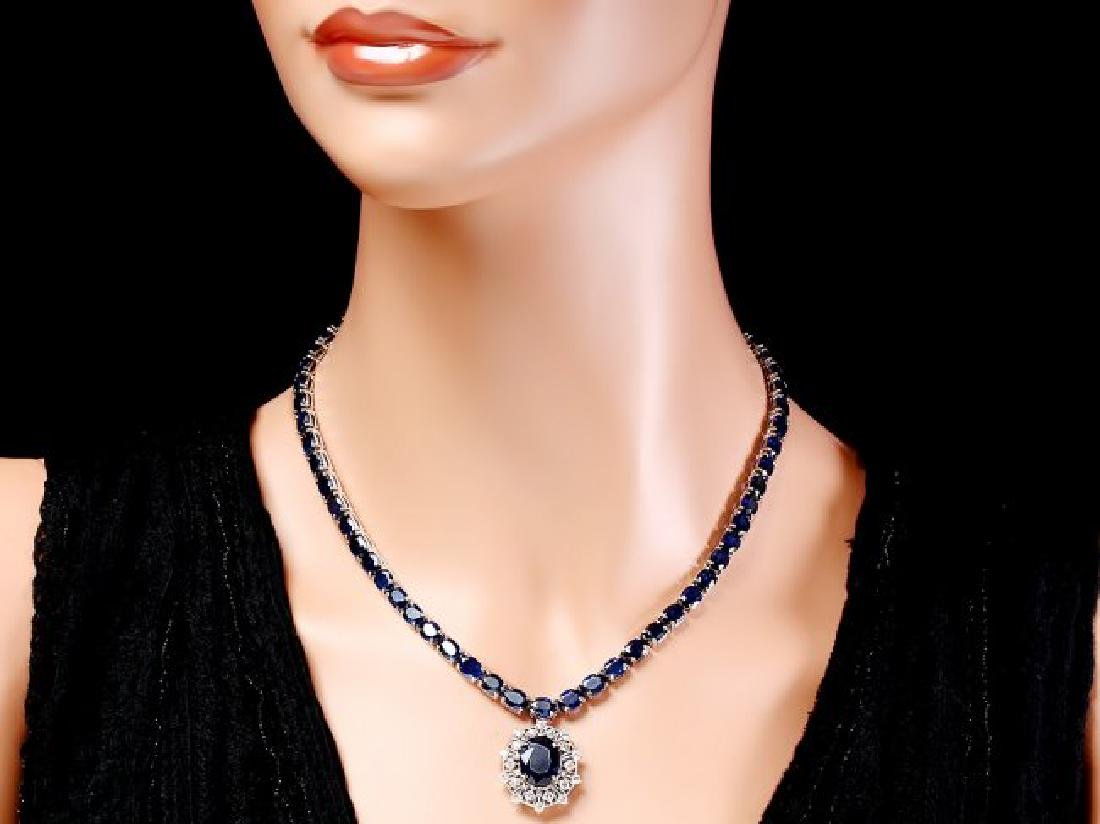 14k Gold 58ct Sapphire 1.15ct Diamond Necklace - 5